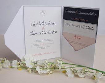 Pink and Navy Wedding Invitations - A5 Silver Pocketfold