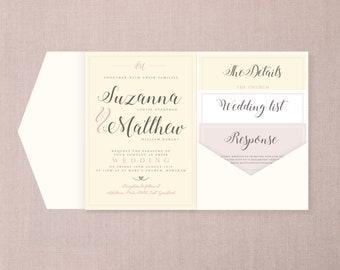 The Blush - Cream and Pink A5 Pocketfold Wedding Invitation