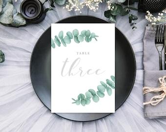 Eucalyptus Wedding Table Numbers