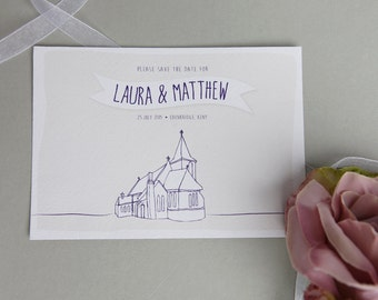 Hand Drawn A6 Save the Dates - Textured Stock - Double Sided