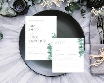 Eucalyptus Wedding Invitation + RSVP