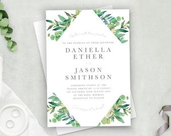 Foliage Wedding Invitations with matching RSVP