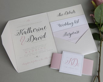 Cream and Pink A5 Pocketfold Wedding Invitation