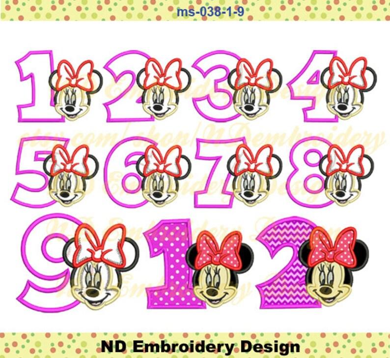 Faccia Di Minnie Mouse In Applique Compleanno 1 9 Pacchetto Etsy