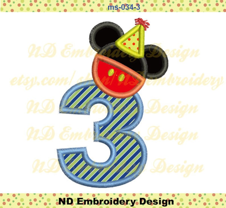 Mickey Mouse Pants 3rd Birthday Embroidery Applique Design