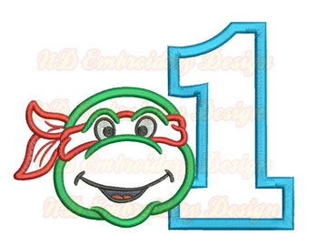 Ninja Turtle Face Embroidery Applique Design, 1st Birthday,  Number 1-9 selection, tl-004-1