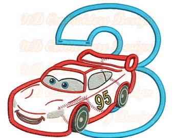 Red Car 3rd Birthday Set Embroidery Applique Design,  race car number 1-9 selection,  vl-007-3