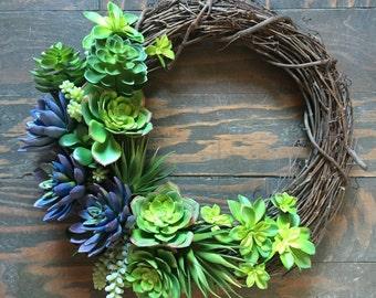 Spring wreath, faux succulent wreath, grapevine wreath, succulent wreath, faux wreath, flower wreath, wreath