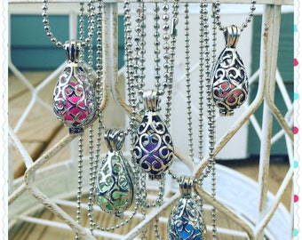 "Essential Oil Diffuser Necklace Antique Silver 16""-24"" Ball Chain With 7 Different Colored Clay Aroma Beads Aromatherapy Life EsSCENTials"