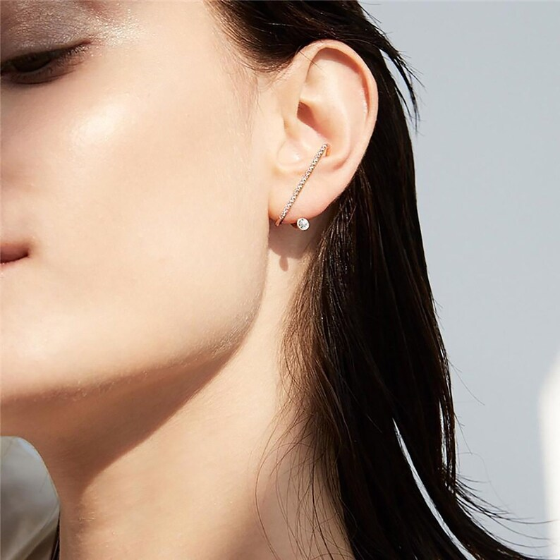 14K Gold Dipped W Rhinestone Suspender Earrings