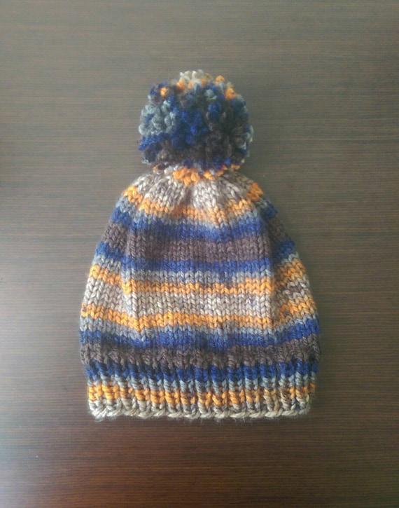 Nordic Winter Hat Orange and Blue Winter Hat Beanie  7686906b8f2