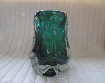 Vintage Liskeard Glass knobbly vase by Jim Dyer 1970s