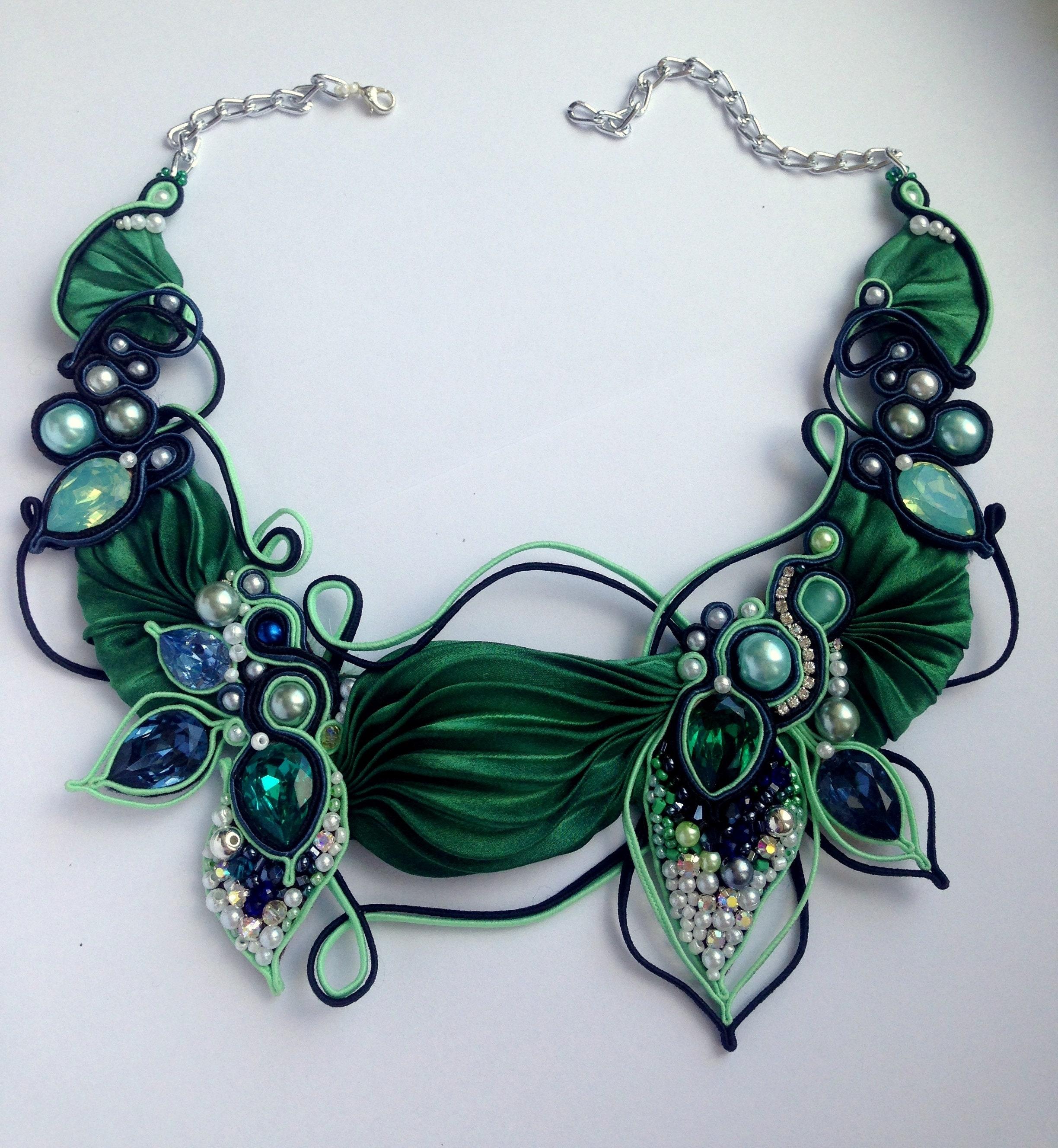 Soutache earrings with flower in bead weaving