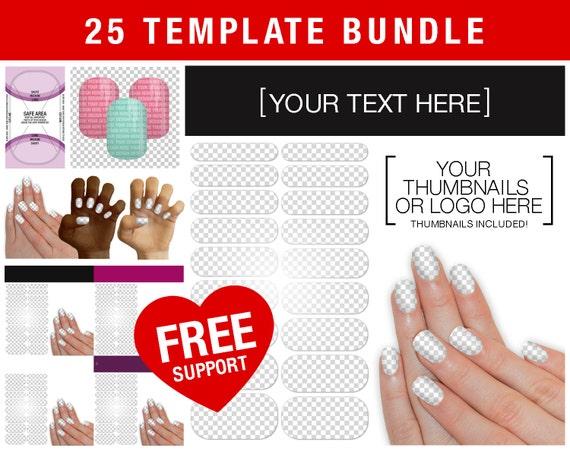 sale bundle of 25 templates nail wrap nas display layout etsy