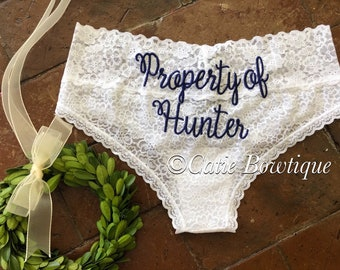 0508dae07 Property of Mr.  Bridal Monogram Cheeky Panties  wedding something blue  underwear  custom white lace cheeky  Mrs   Bride  bride gift  bridal