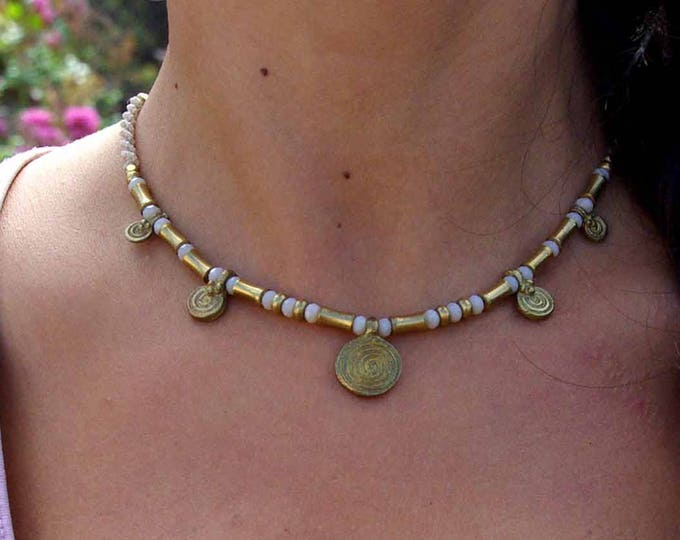 Macrame Necklace Mod.Durga, Goddess necklace, brass pieces, goddess necklace, bohemian necklace, water resistent, nickel free,