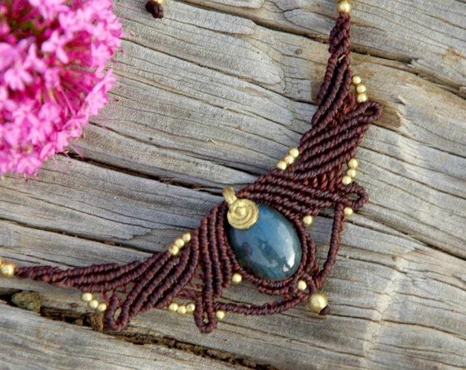 Macrame Necklace Mod. Izar with MAGIC LABRADORITE, talisman necklace, yoga necklace, stone amulet, talisman, goddess necklace, nickel free