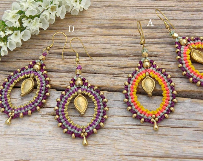 Mod Serena Macrame  Earrings , with brass, nickel free, tribal earrings, goddess jewelry, gift for her, fairy earrings, tribal jewelry