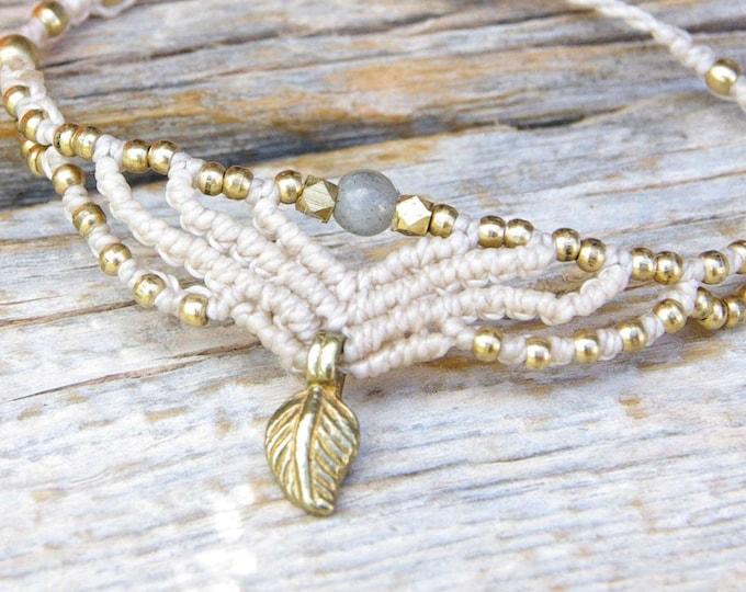 Fairy bracelet with small labradorite and brass ball, macrame bracelet, adjustable, nickel-free, goddess bracelet, gift for her, talisman