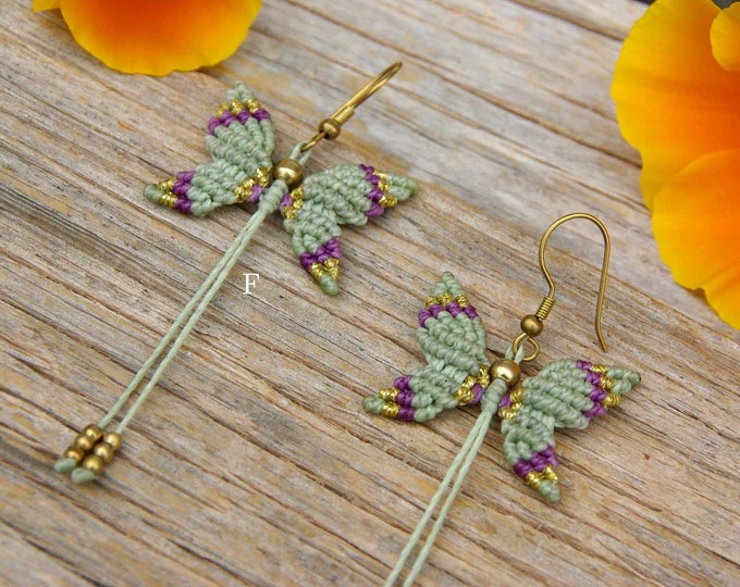 Butterfly macrame  long earrings, with brass beads, 5 colors to choose,boho earrings, gipsy jewelry, nickel free, free shipping