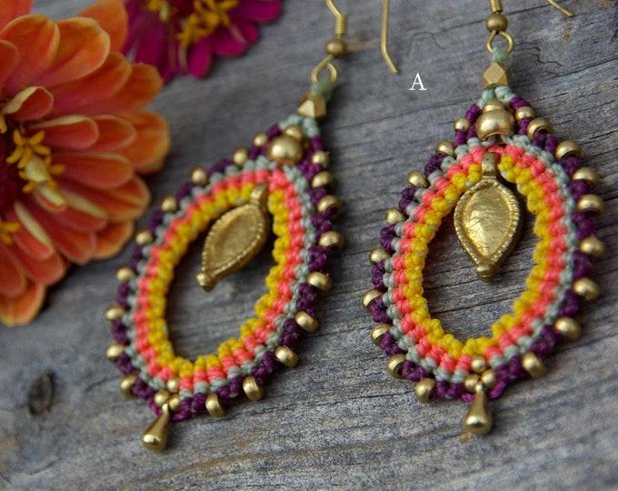 Mod Serena Macrame  Earrings , with brass, nickel free, tribal earrings, goddess jewelry, gift for her, fairy earrings, tribal jewelry