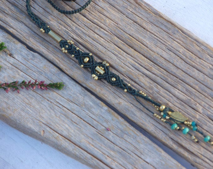 Macrame hair - jewelry, macrame and brass, dark green color, with hairpin, macrame extension, hair jewelry, hair coat, hair accessory