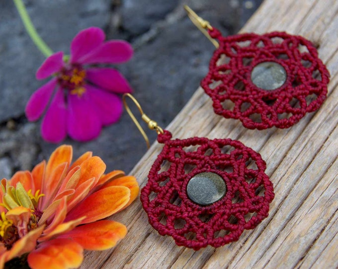 Macrame mandala earrings with golden obsidian, spiritual jewelry, macrame mandala, fairy earrings, tribal jewelry, stone mandala, yoga