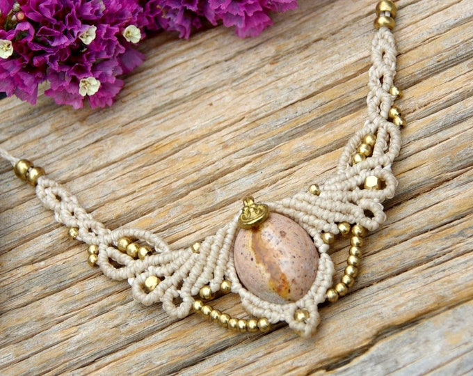 Macrame Necklace with MAGIC FIRE OPAL, talisman necklace, opal talisman, stone amulet, talisman, goddess necklace, opal gift, nickel free