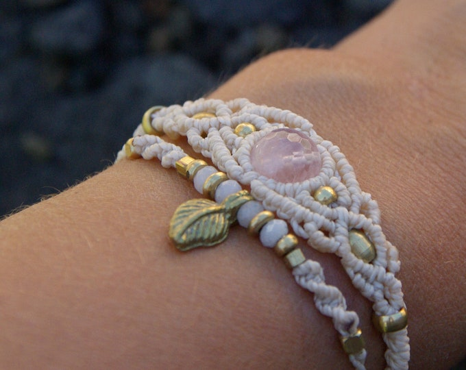 Kit 2 macrame bracelets, with rose quartz and agates, amulet, gift for her, talisman stone, adjustable, nickel free, talisman, free shipping
