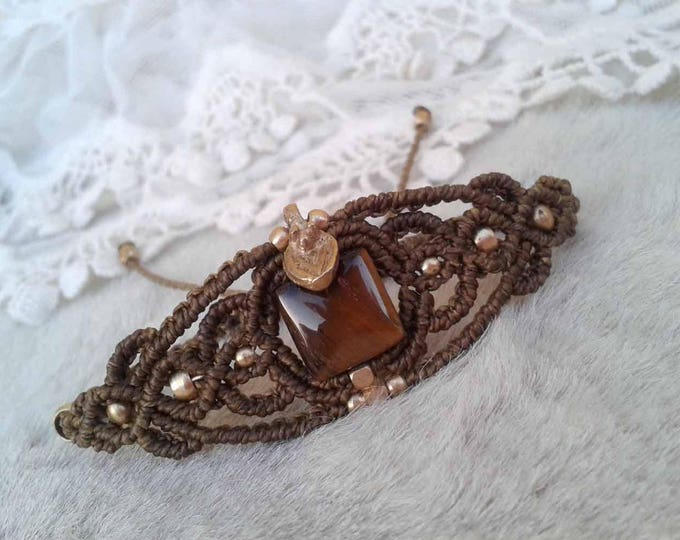 Macrame bracelet with tiger eye, brass beads, nickel free, adjustable, talisman bracelet, stone amulet, woman gift, water resistent