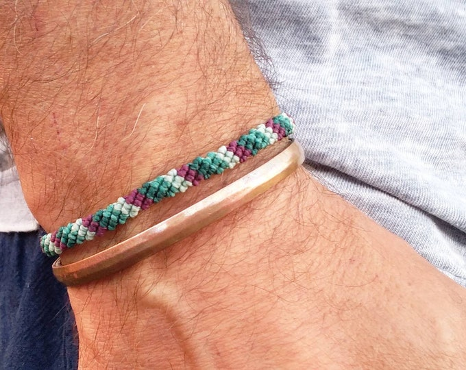 Men bracelet, macrame bracelet, knots bracelet, gift for him, father gift, colorful bracelet, friendship bracelet, free shipping