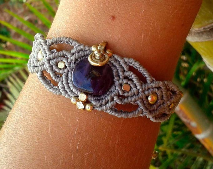 Macrame bracelet with amethyst, brass beads, nickel free, adjustable, talisman bracelet, stone amulet, woman gift, water resistent