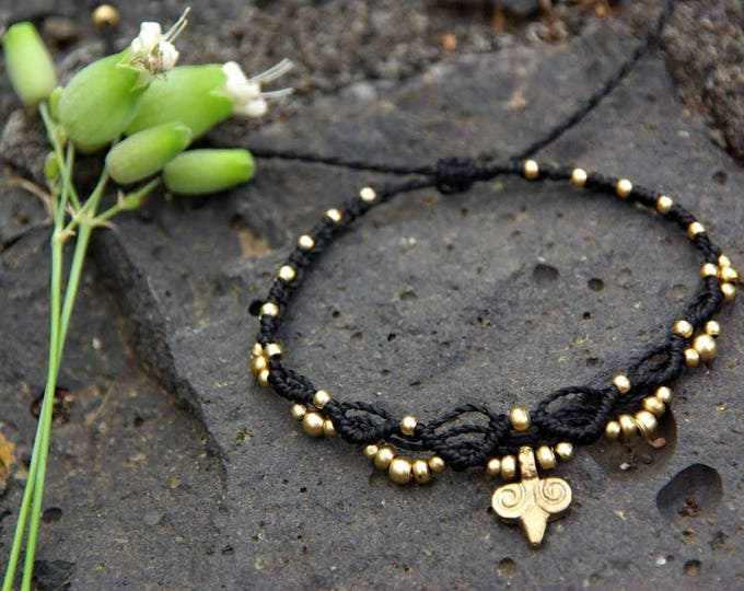 Bracelet or Anklet Mod. Sunset, with brass, adjustable, nickel-free, macramé bracelet, tribal bracelet, waterproof, free shipping