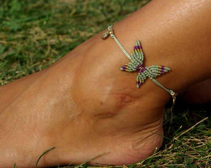 Macrame Butterfly Mod. Ana, bracelet anklet, 10 colors to choose, butterfly anklet, anklet brass, macrame anklet nickel free, free shipping