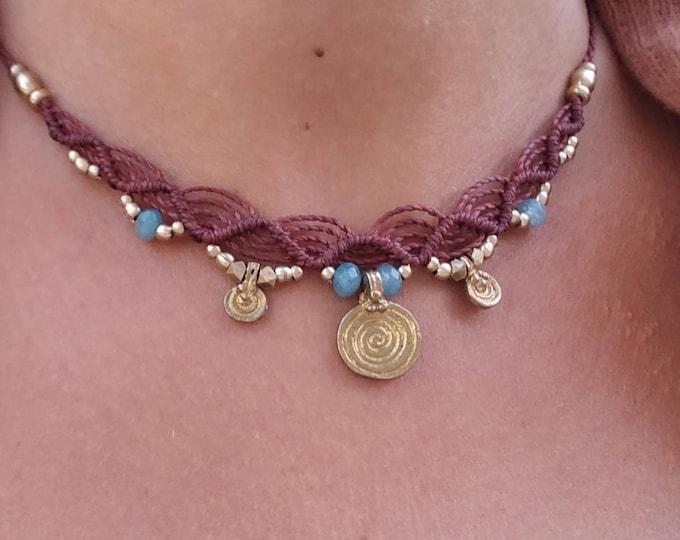 Tribal necklace Mod. Aroa, macrame and brass necklace, adjustable chocker, nickel free, waxed thread, goddess necklace, macrame tiara