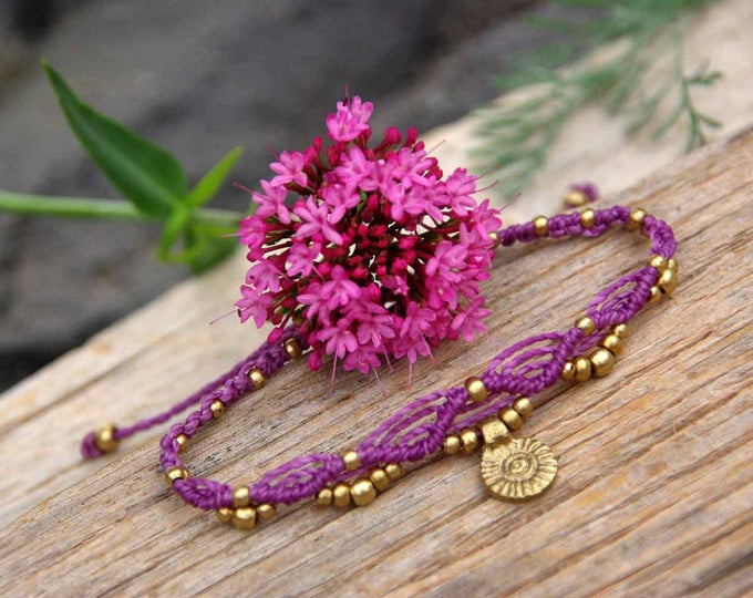 Bracelet or Anklet Mod. Sunset, with brass, adjustable, nickel-free, macramé bracelet, tribal bracelet, waterproof, free shipping