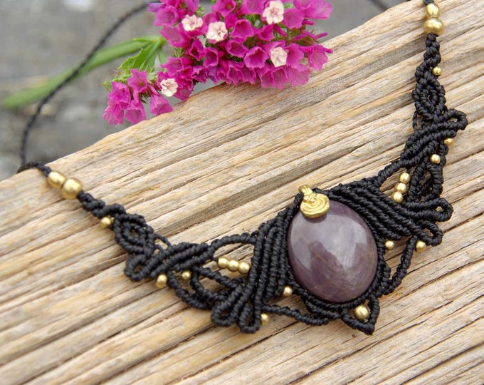 MACRAME necklace with STAR RUBI, tribal necklace, acrame tiare, yoga necklace, amulet stone, talisman, goddess necklace, nickel free