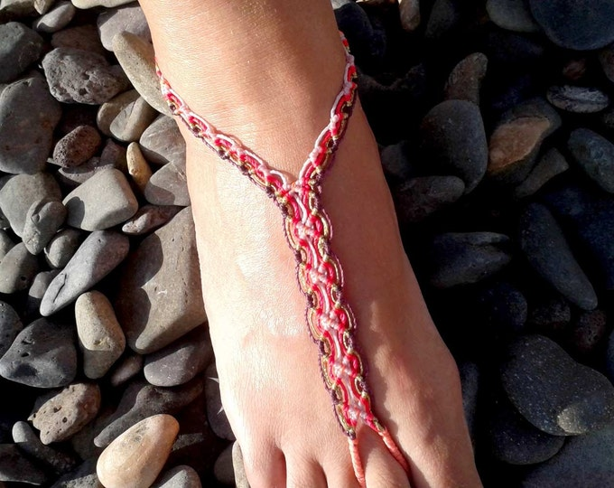 Footwear macrame anklet, gipsy anklet,  barefoot, boho macrame anklet, bohemian anklet, Hippie, Boho, Beach Anklet, Gipsy jewelry, yoga
