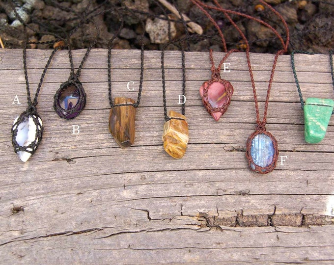 Macrame necklace for him, stone pendant, gift for him, 7 stones, for men, adjustable, talisman stone, yoga amulet, tribal necklace