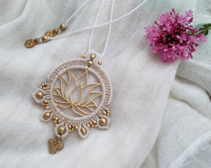 Lotus flower  Pendant in Macrame, brass lotus flower, fairy pendant, yoga necklace, spiritual jewelry, wabi sabi, macrame art, nickel free