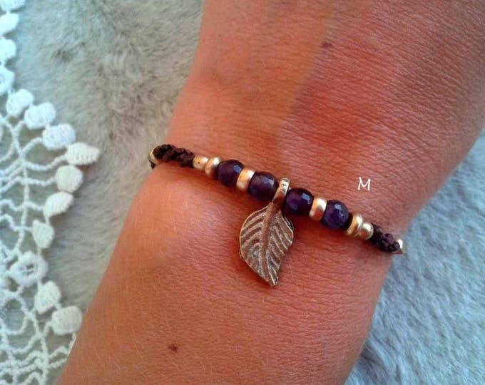 Macrame Bracelet, with AMETHYST faceted and brass, adjustable, ankle brass,  stone talisman, nickel free, water resistent, free shipping