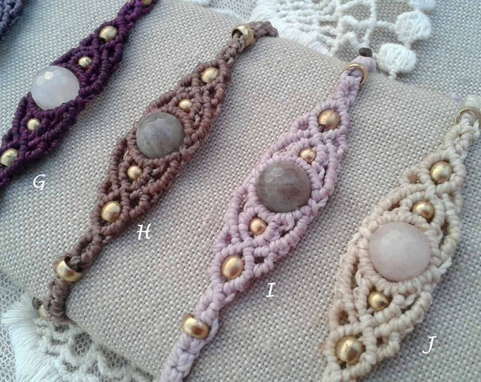 Rose Quartz or Tiger Eye macrame bracelet, Mod. Carol, brown, gipsy jewelry, friendship bracelet, waterproof brass, amulet,
