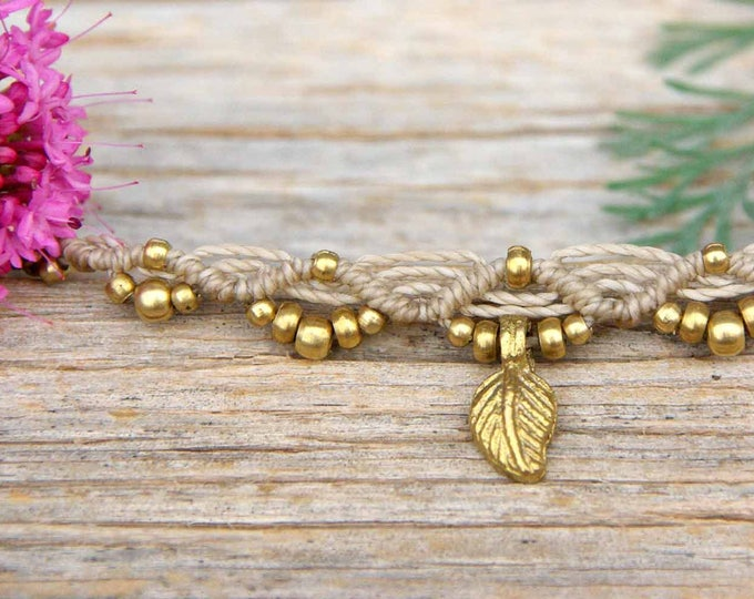 Bracelet or Anklet Mod. Oihane, with brass, adjustable, nickel-free, macramé bracelet, tribal bracelet, waterproof, free shipping