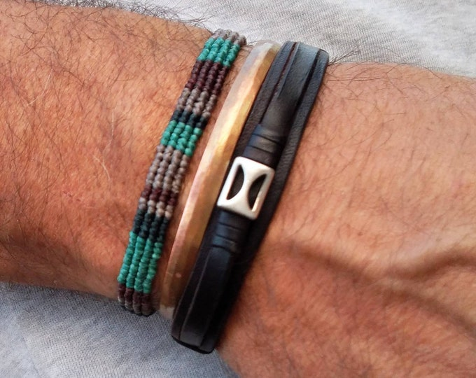 Mens bracelet, macrame bracelet, knot bracelet, gift for him, father's gift, colorful bracelet, friendship bracelet, asymmetric bracelet