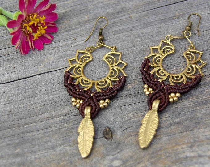 Macrame Earrings, Brass Earrings, Feather Earrings, Fairy Jewelry, Tribal Earrings, Nickel Free, Goddess Earrings