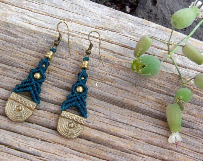 Macrame Earrings, earrings brass, pendants thread, nickel-free, water-resistant, tribal jewelry, brass jewelry, for her, free shipping