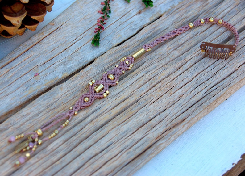Macrame hair  jewelry macrame and brass nude color with image 0