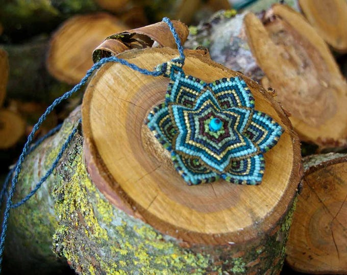 MANDALA  necklace, macrame mandala, reversible necklace with volume, six -pointed star, mystical necklace, magic jewelry, fairy jewelry