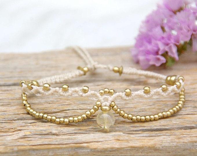 Delicate Macrame bracelet, with rutilated quartz, brass bracelet, nickel free, waterproof, stone talisman, yoga bracelet