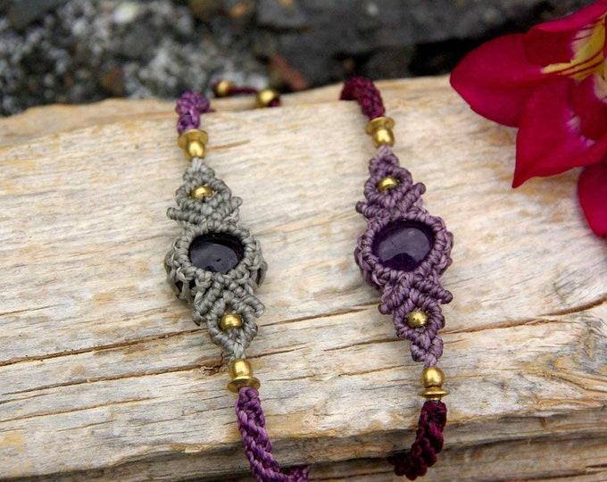 Macrame bracelet, fairy bracelet, yoga bracelet, thread bracelet, gift for her, amulet bracelet, brass bracelet, nickel free, stone talisman